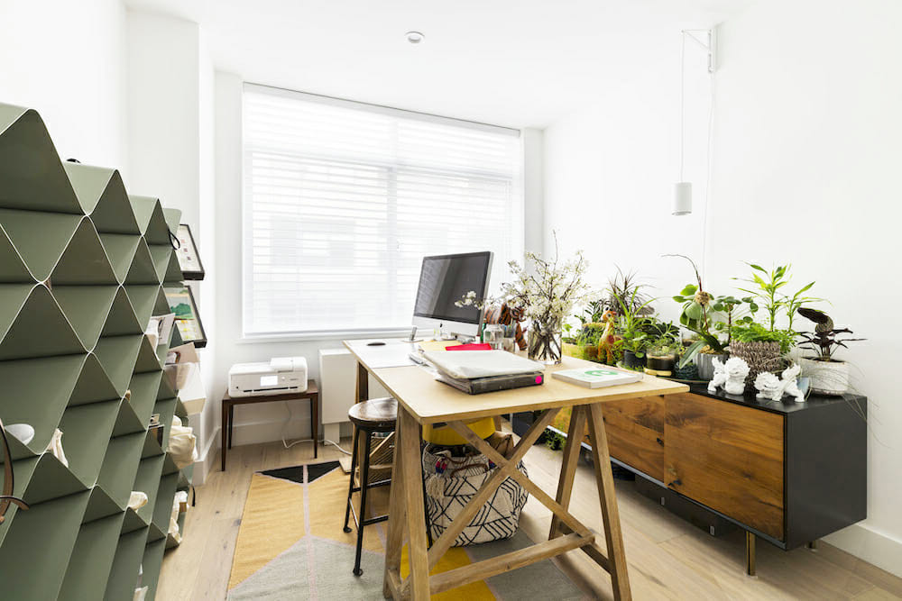 spare bedroom converted to work from home space